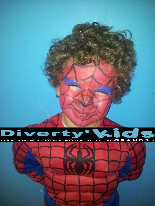 Diverty'Kids spider man anniversaire maquillage déguisement