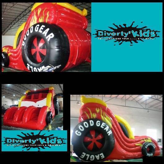 Diverty'Kids, location grand toboggan gonflable car rouge