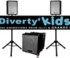 Diverty'Kids, kit sono, 2 enceinte 300 watts et 1 caisson subwoofer bi-amplifié de 800 watts